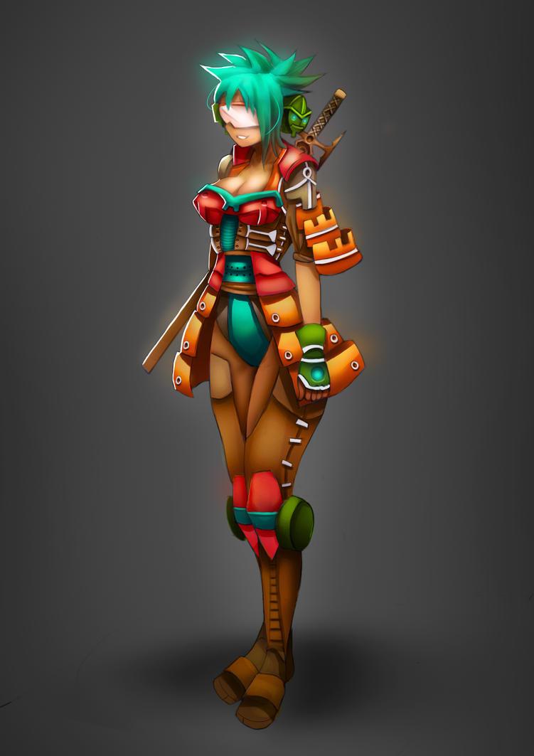 cyborg samurai girl by BANJOVSOP