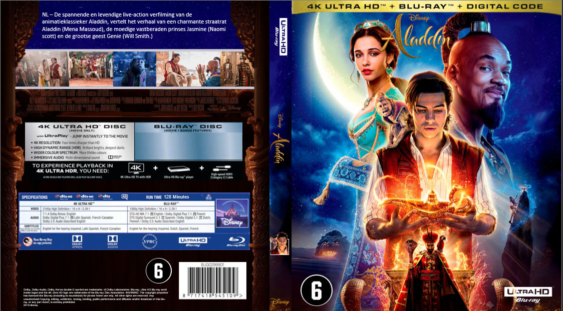 aladdin 4k ultra hd cover  dutch  by covercollector on
