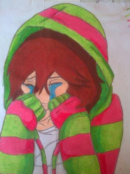 crying anime girl ( oil pastels)