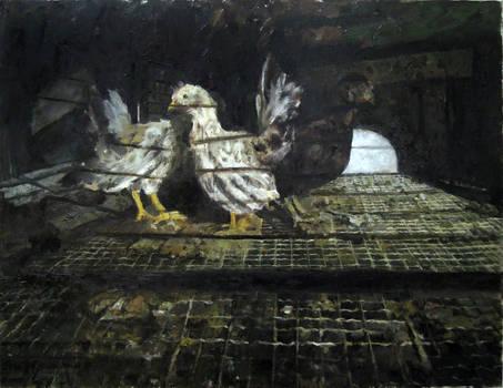 Japanese Bantam Chick 1 - Oil Painting