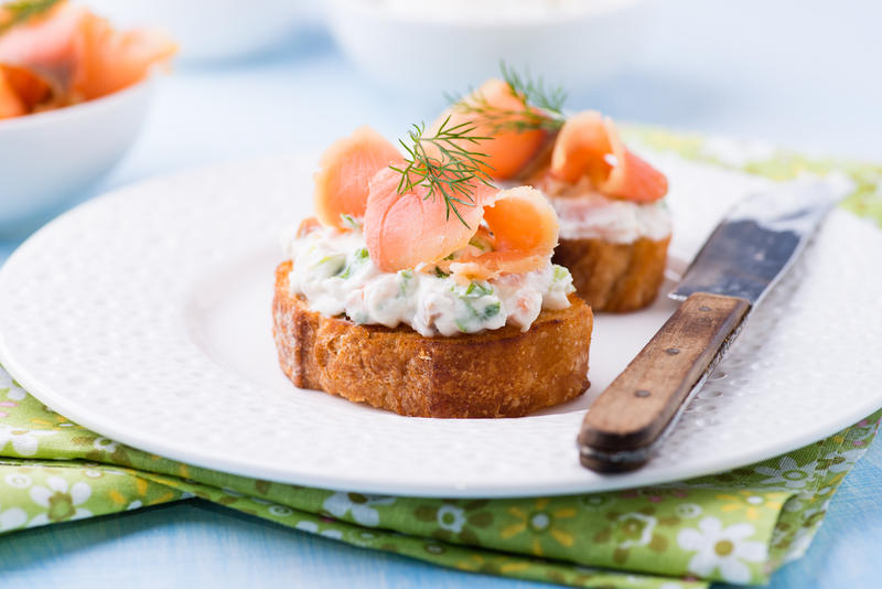 Canapes with smoked salmon and cream cheese by bekaphoto for Smoked salmon cream cheese canape