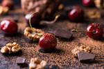 Ripe cherry, walnuts and chocolate chunks