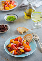 Colorful heirloom tomato and peaches salad
