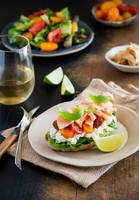 Sandwich with soft cheese, salmon and tomatoes by BeKaphoto