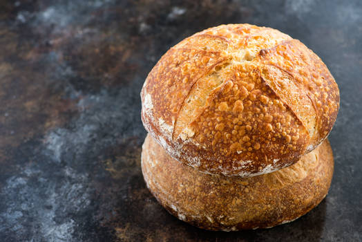 Loaves of homemade sourdough bread
