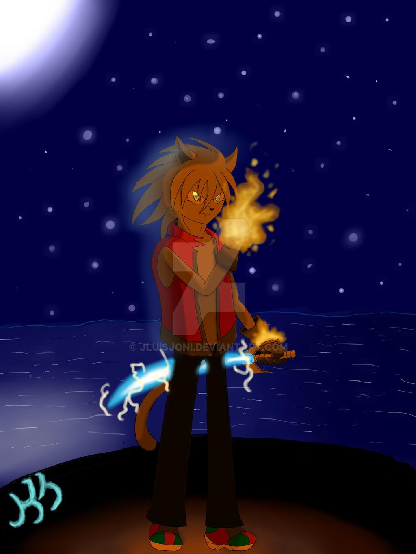 Fire genius in a starry night by KuraiJinx