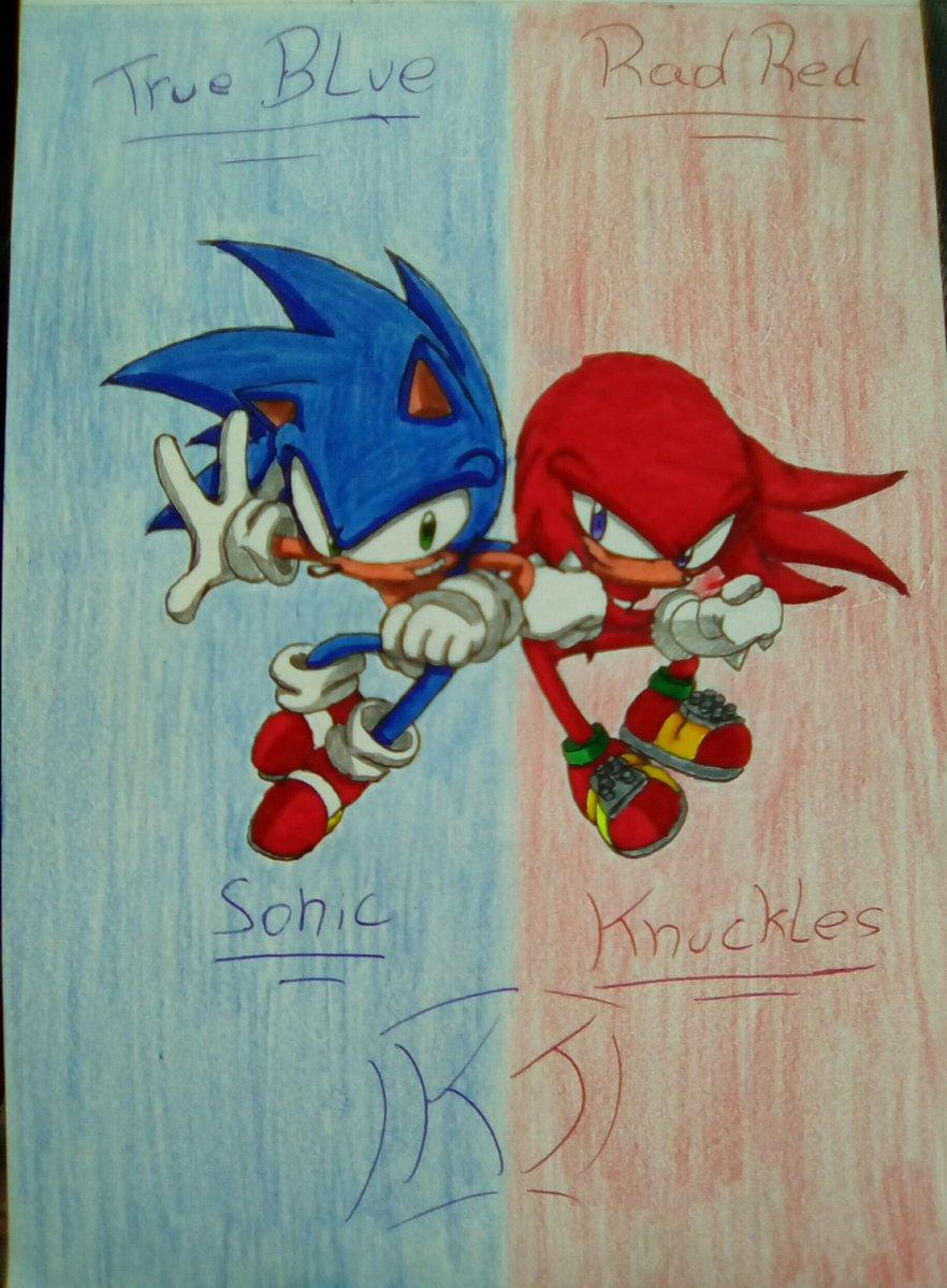 Sonic VS Knuckles: True Blue VS Rad Red!! by KuraiJinx