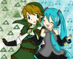 Link and hatsune miku o.o