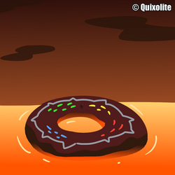 A Big Donut floating in the Lava!
