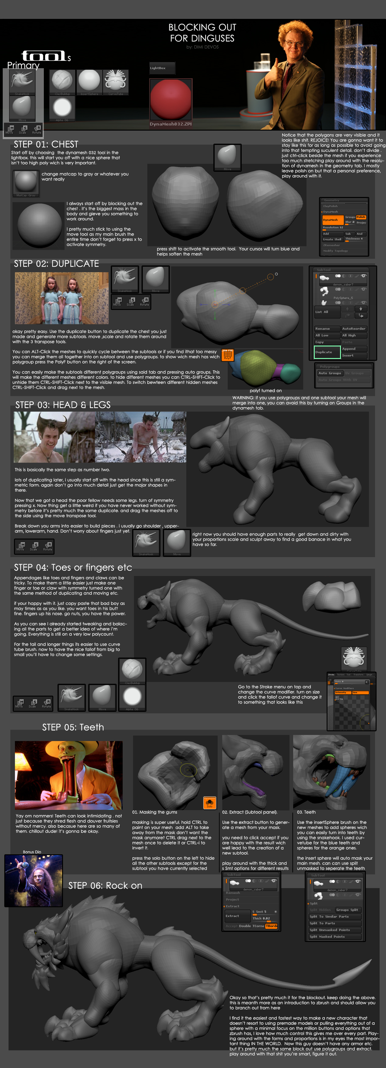 A visual guide to blocking out creatures in zBrush : ZBrush