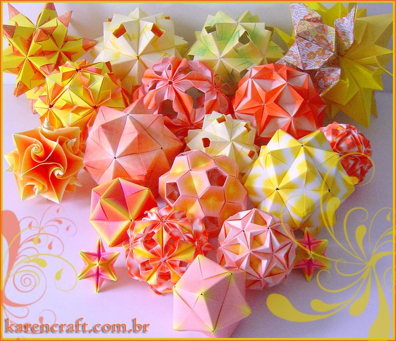 Orange kusudamas by KarenKaren