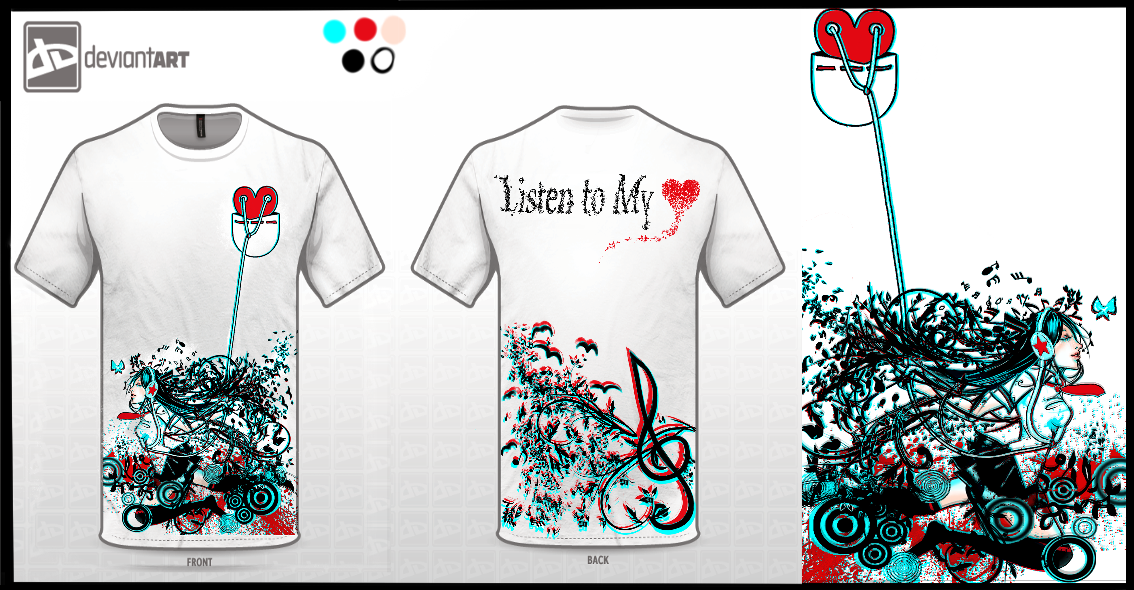 Listen to my heart t shirt design by sangrde on Music shirt design ideas