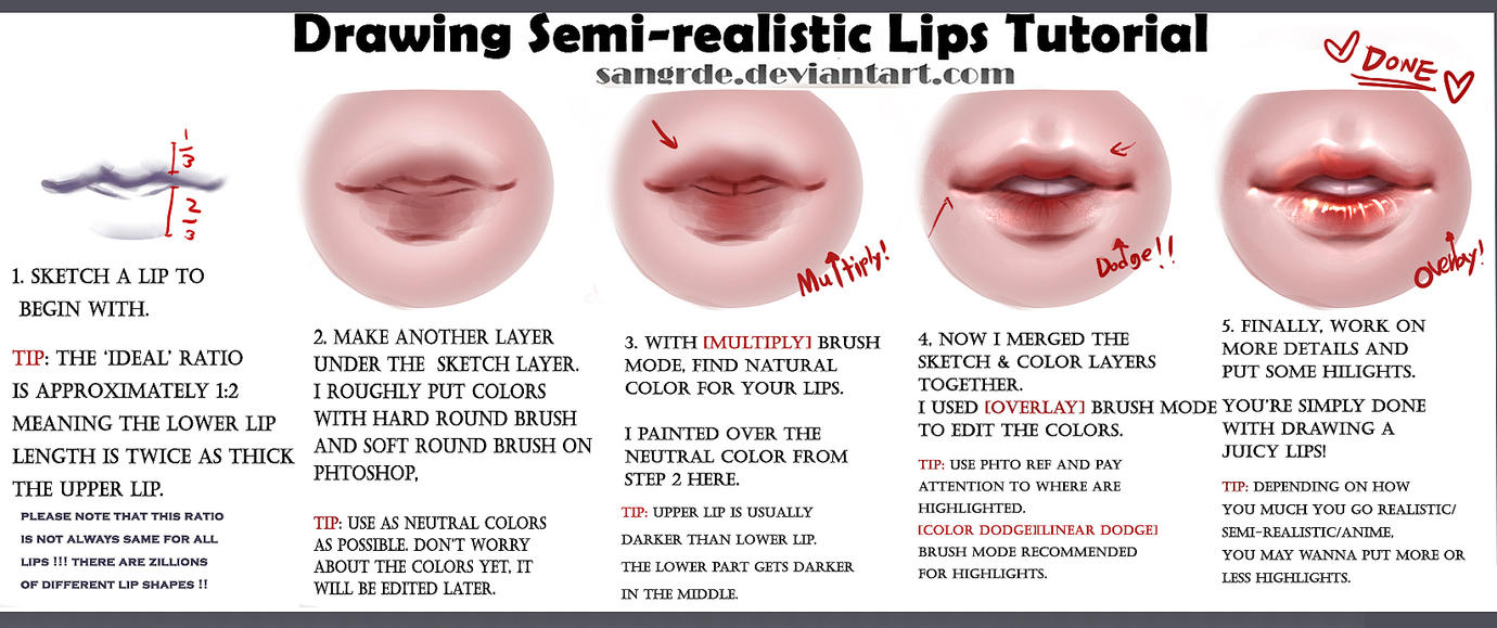 How To Draw Juicy Semirealistic Lips :: By Sangrde