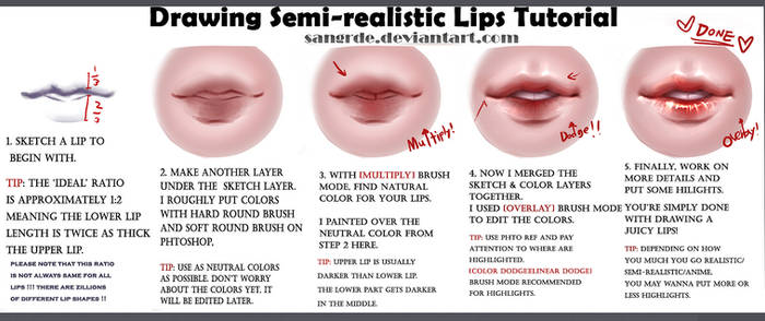 :: How to Draw -Juicy- semi-realistic Lips ::