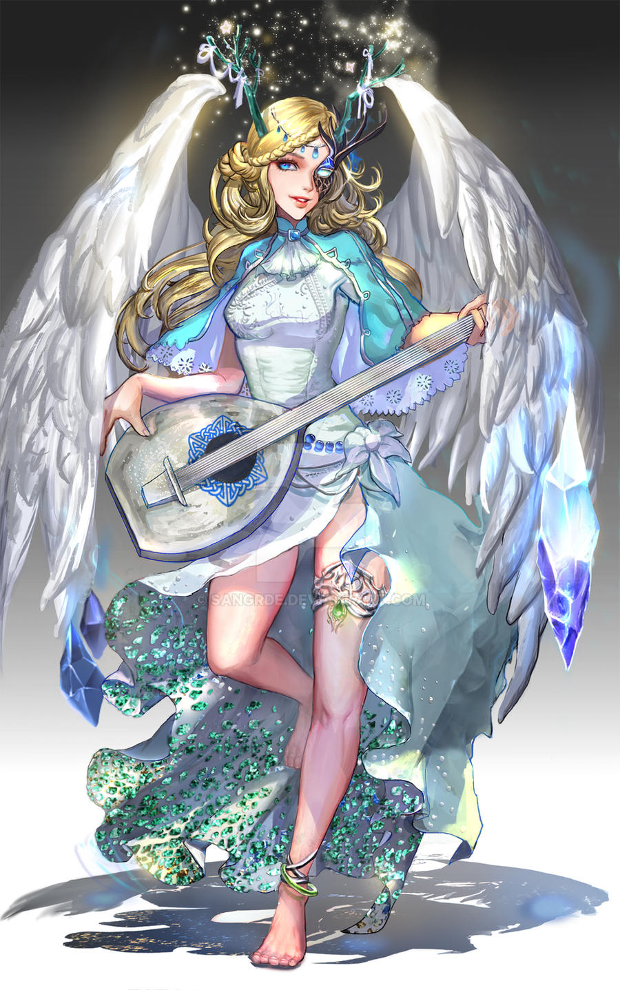 :: Ice Bard Angel  :: by Sangrde