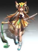 :: Fox girl Hanbok Outfit Design :: by Sangrde