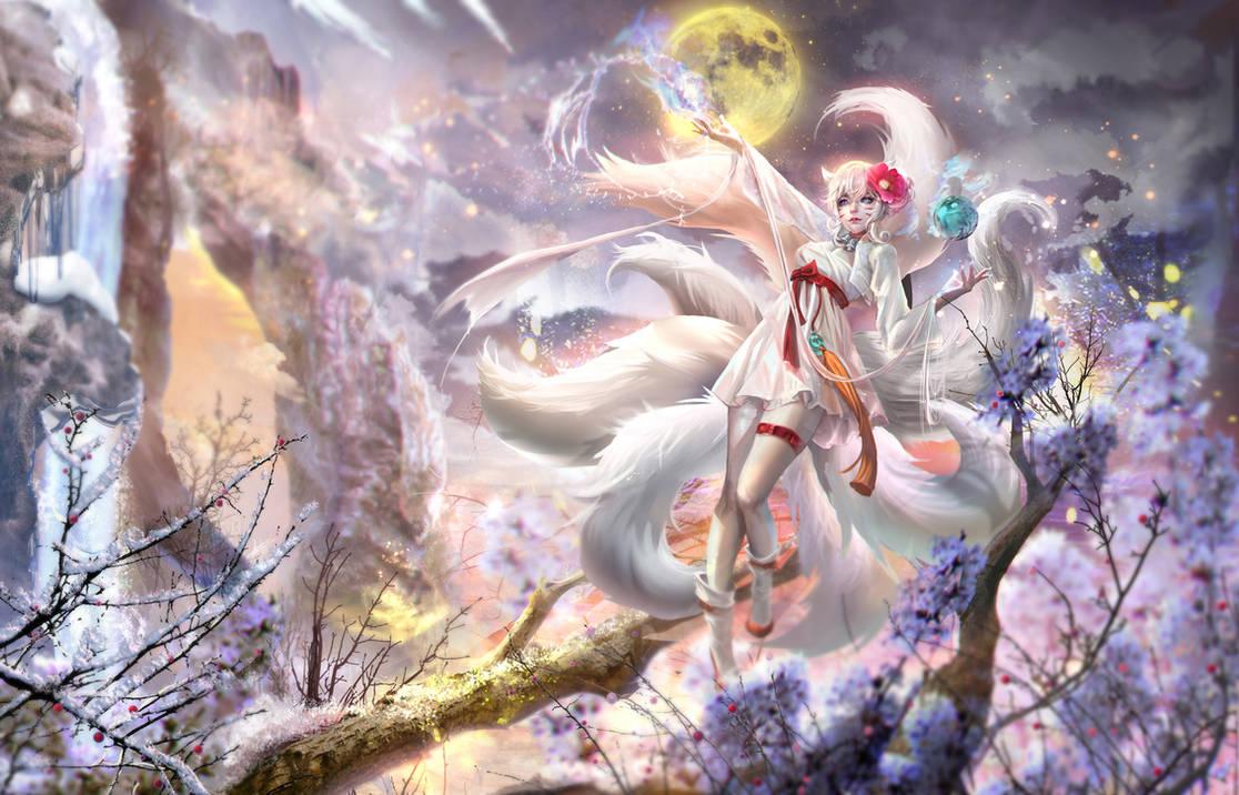 :: Snow Fox Ahri Skin :: by Sangrde