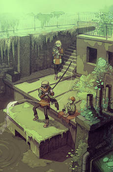 Fishing on the roof