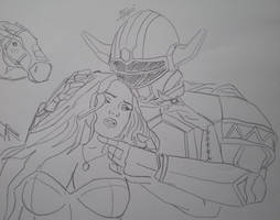 Magna's Wife Dying In His Arms (Unfinished Sketch)