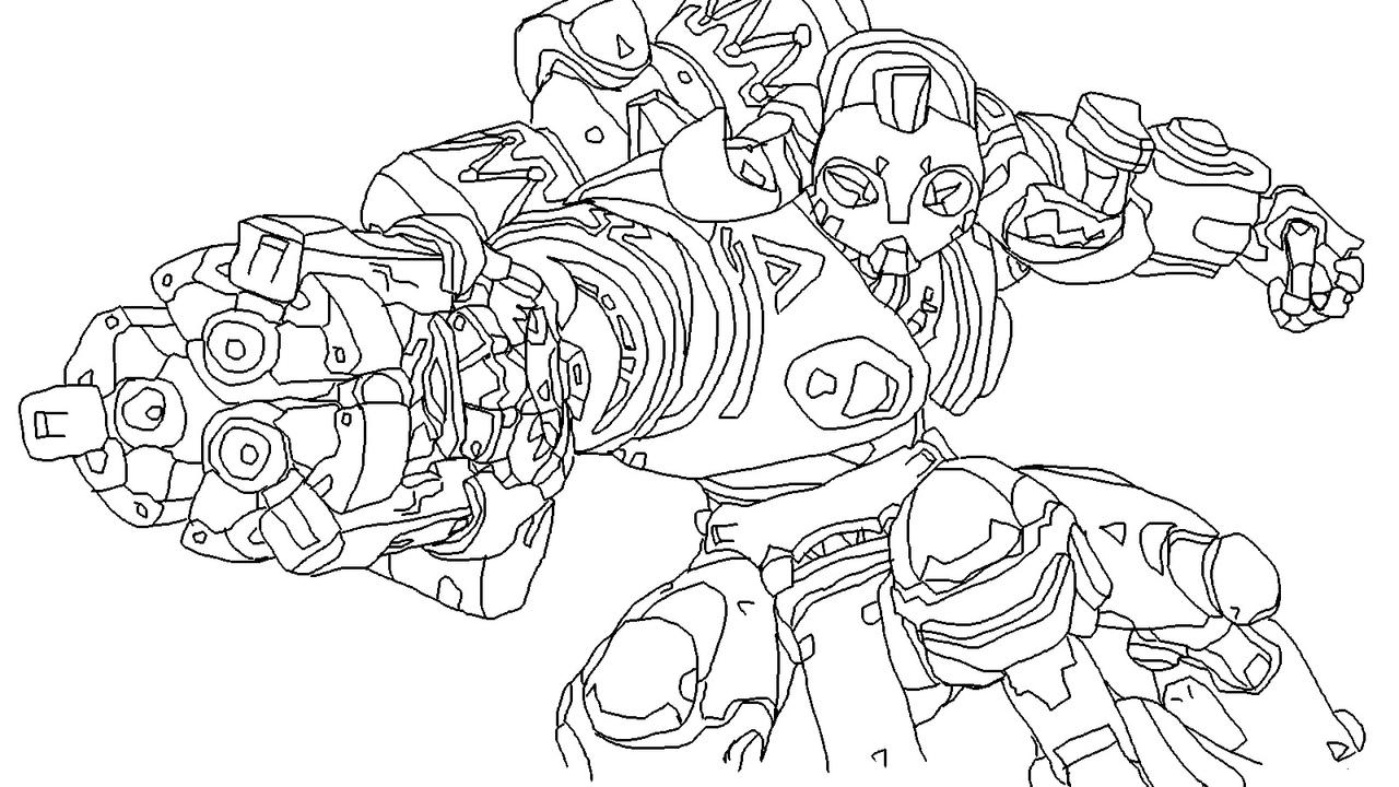 Orisa from overwatch unfinished by chonocobobo on deviantart for Overwatch coloring pages