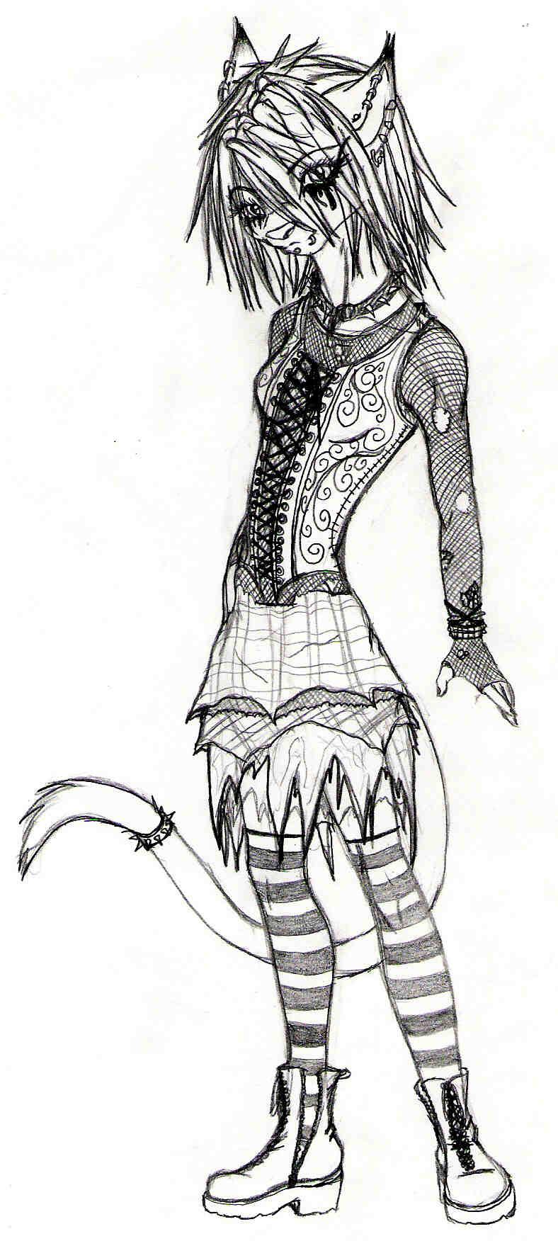 goth kitty drawing by pyrokittyllc on deviantart