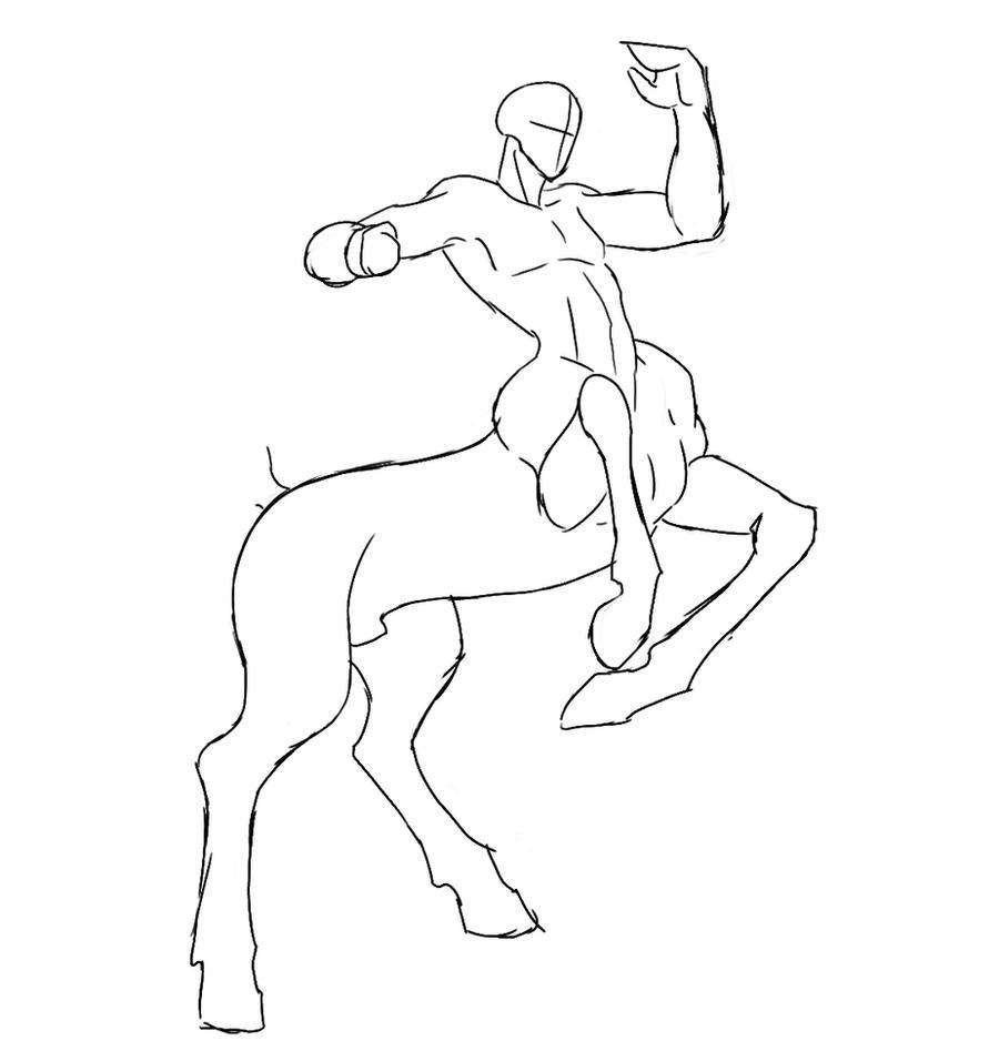 Male Centaur base by Peanuttie