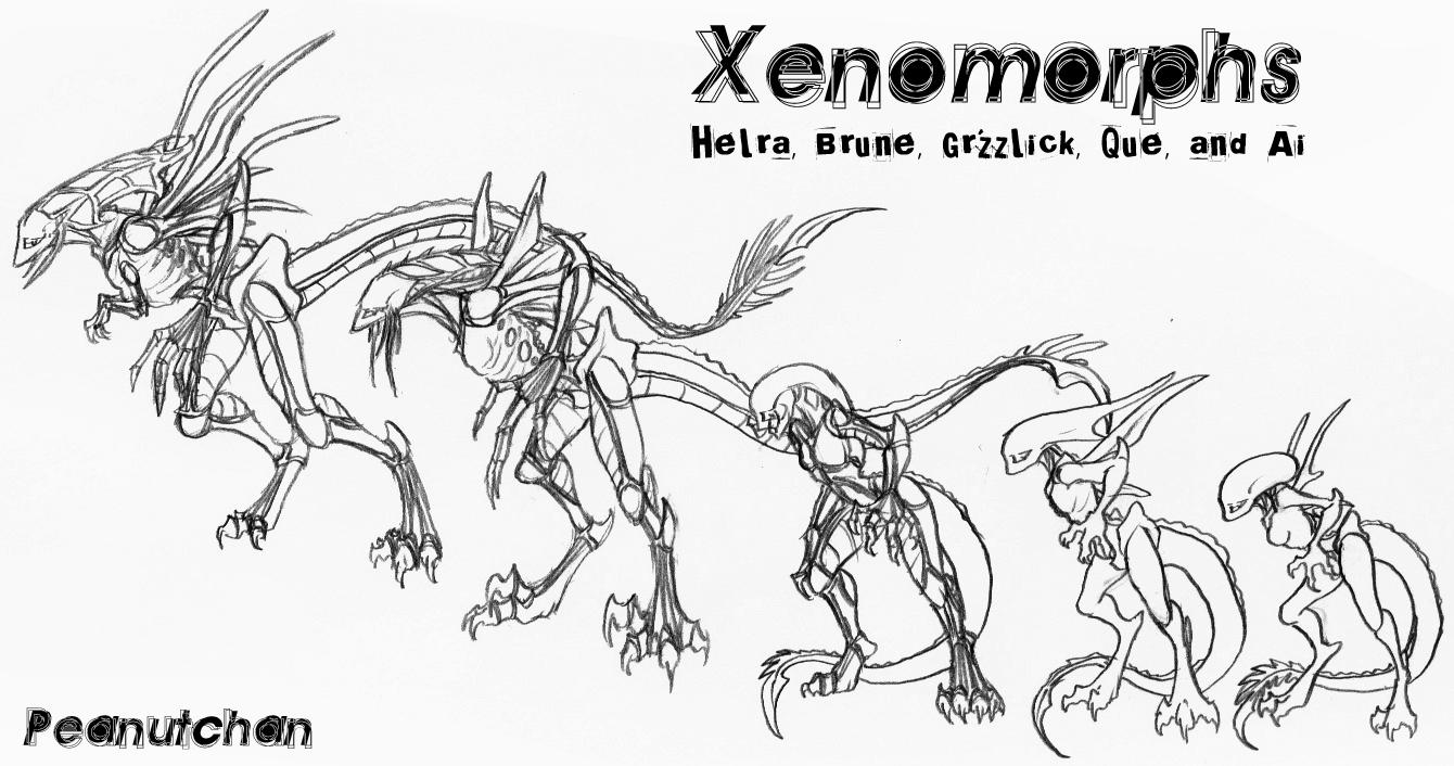 Xenomorphs by peanuttie on deviantart Predator Coloring Sheet Wolf Predator Coloring Pages Huntress Coloring Pages