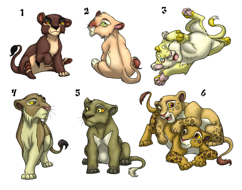 4 left Male Lion Cub Adoptables for Sale by peanutchan