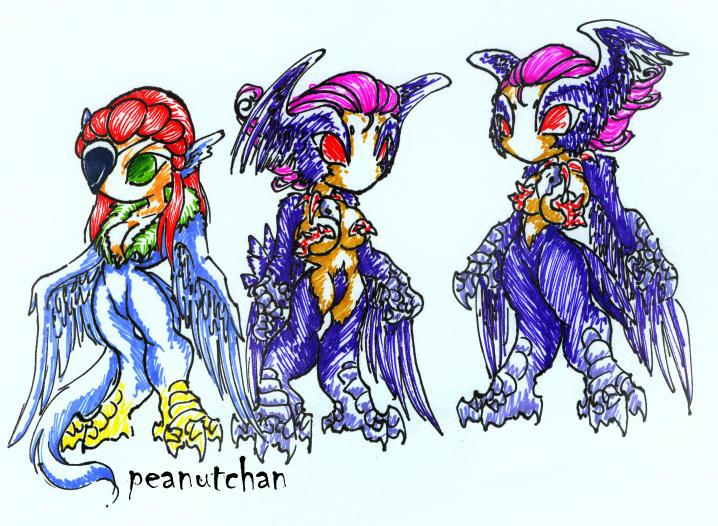 :Chibi Harpies: by peanutchan