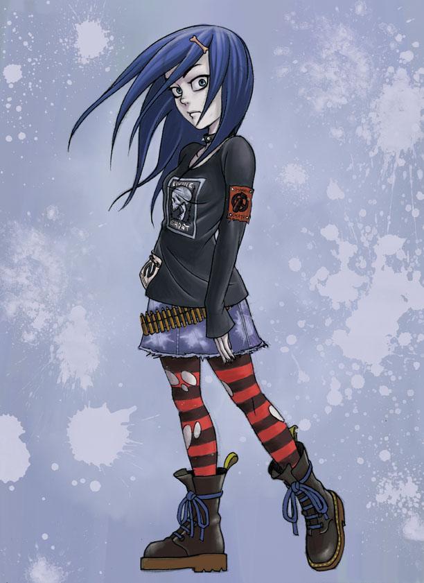 blue hair punk girl by EijiSaeki