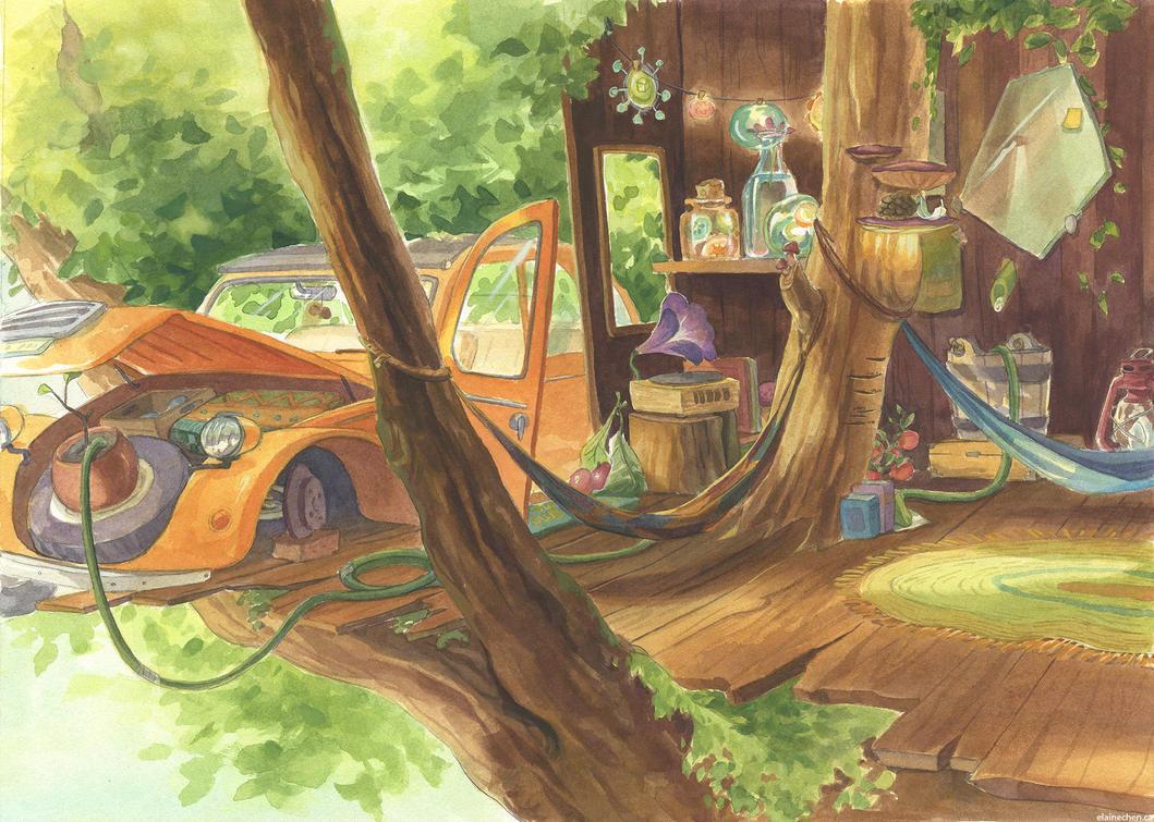 Pomi's treehouse by Elaine10