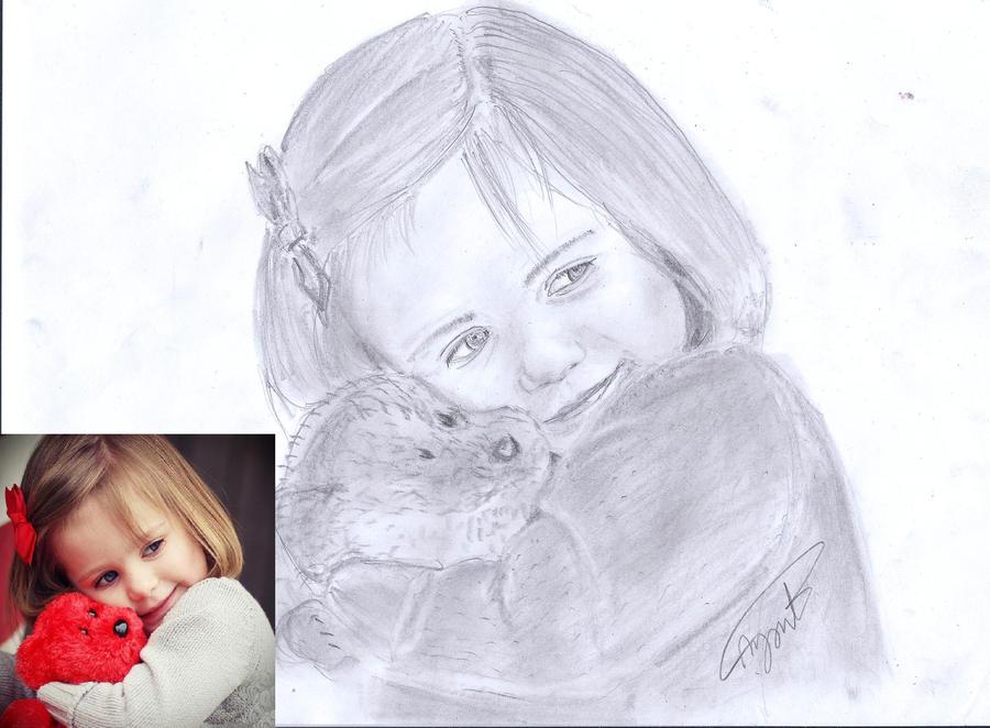 baby girl pencil drawi...