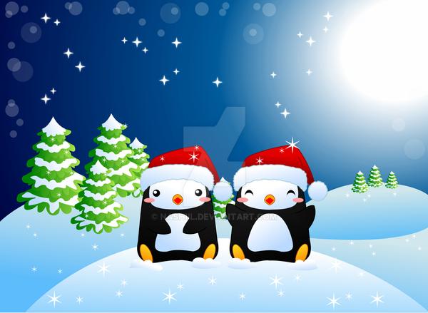 Christmas Penguins by Nashiil
