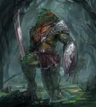 Crocodilian warrior for upcoming TCG