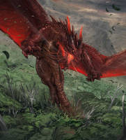 Red dragon (Glimpse of luna card illustration) by ThemeFinland