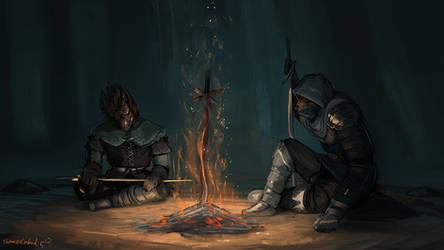 Sharing a bonfire