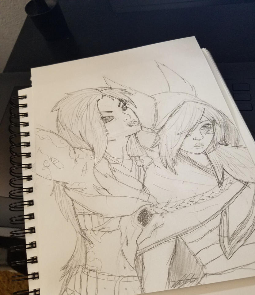 Jinx and Xayah (Commission) -rough sketch- by Plague0fPandas