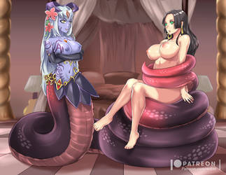 Boa Hancock and Alice by Redjet by Violet-Scales
