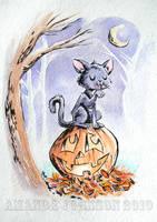 Halloween Kitty by skullberries