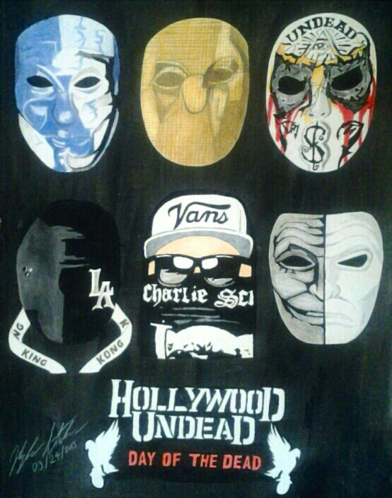 Hollywood Undead Day Of The Dead Masks Poster By KyleThaArtist