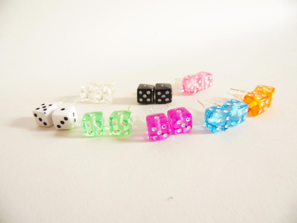 Retro Dice Studs by KleeNoodle