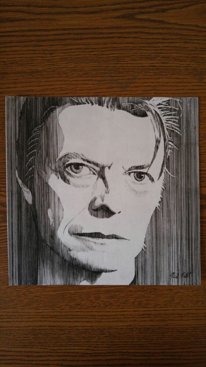 David Bowie - Vertical Lines , Pen and Ink by NoErasing