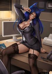 Lingerie Secretary Ahri by Felox08