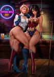 Powergirl and  Wonderwoman
