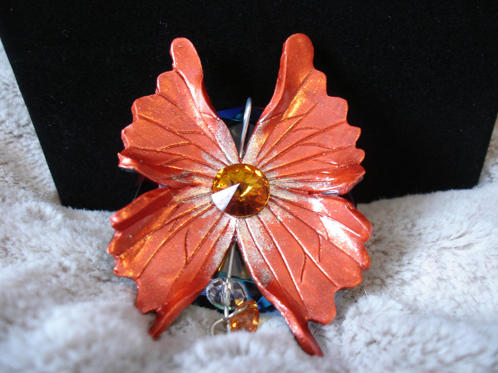 Orange Fantasy Fairy Wing Pendant by LinaSei on DeviantArt
