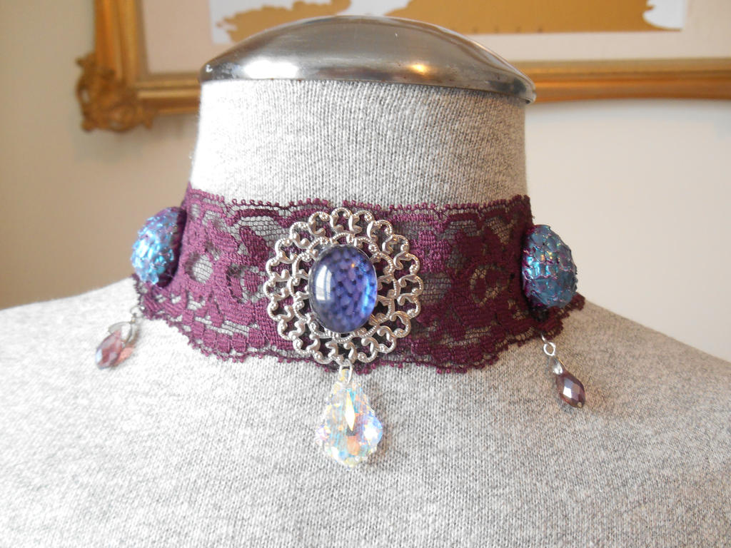 Purple Fantasy Dragon egg choker with Swarovski by LinaSei