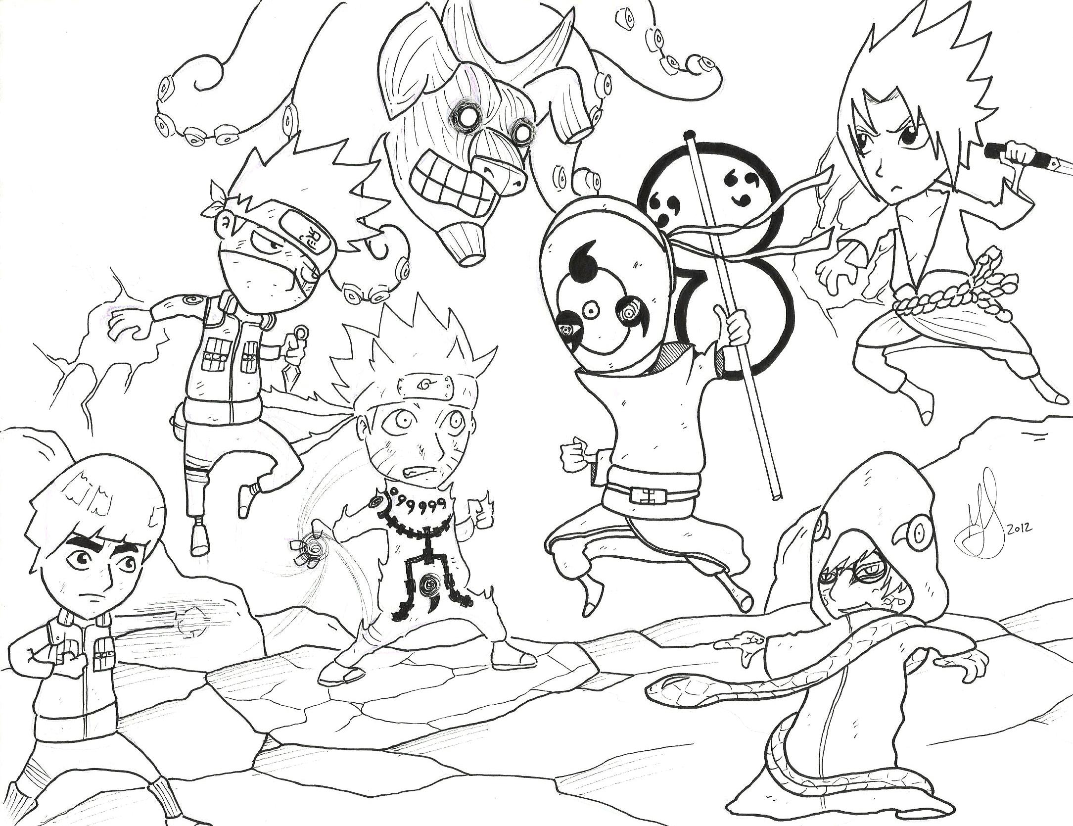 Naruto chibi war by gabcartoon on deviantart for Chibi naruto coloring pages