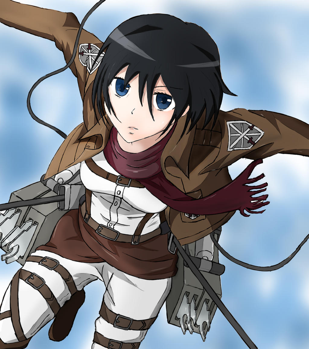 Mikasa, Attack on Titan, Colored by Jeriv