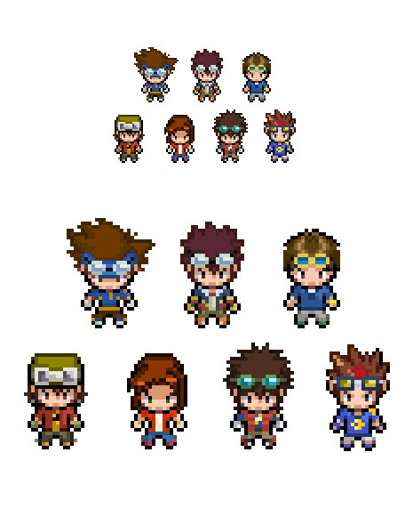digimon main characters overworld sprites by lucky96u on