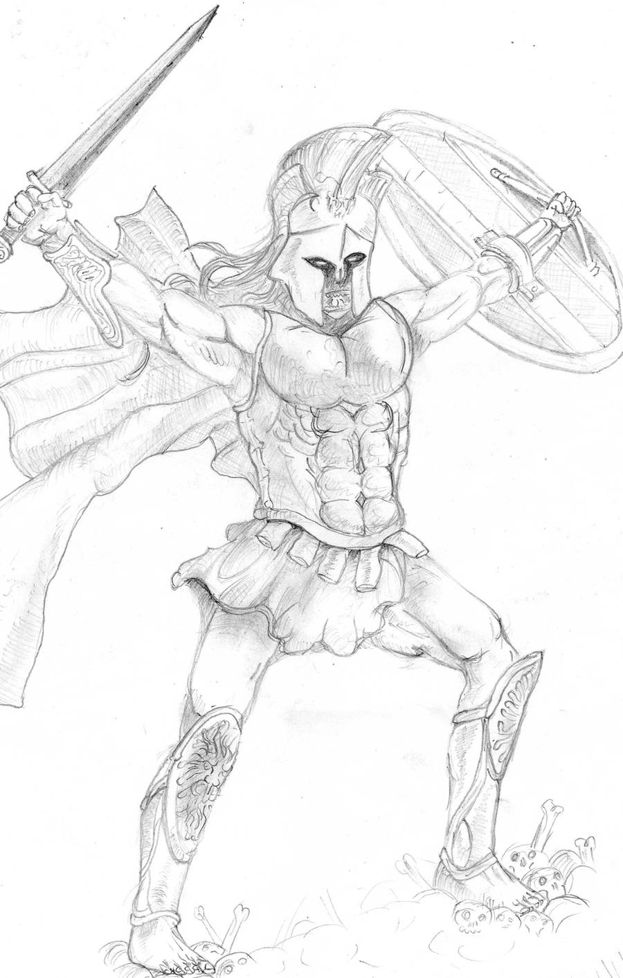 Greek God Ares Drawing Ares, god of war by hi...